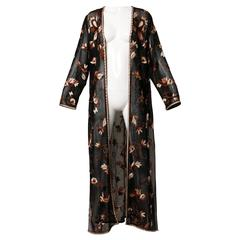 Gorgeous Vintage Sheer Black Beaded + Embroidered Silk Duster Coat