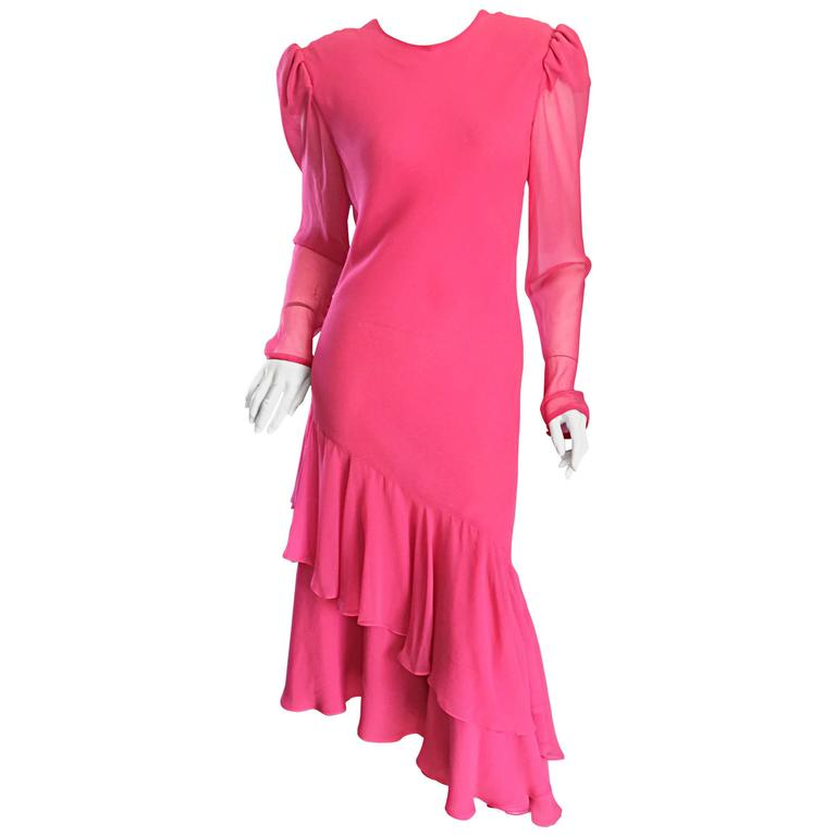 Beautiful Vintage Carolina Herrera Pink Silk Chiffon Long Sleeve Ruffle Dress
