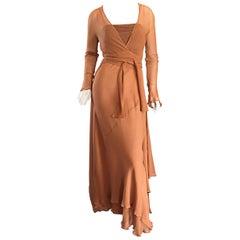 Alberta Ferretti Vintage Terra-Cotta Silk Chiffon Grecian Gown and Wrap Cardigan