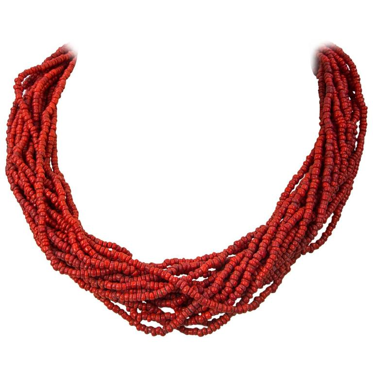 Multi Strand Small Nugget Coral Tribal Art Necklace For Sale