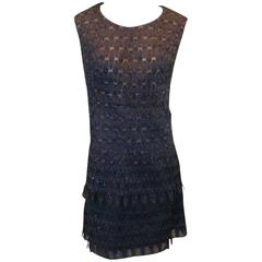 Early 1960's Carven Haute Couture Blue Lace Nude Illusion Shift Dress