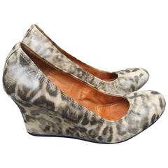 Lanvin Paris Animal Print Leather Wedges ca 1970s US Size 7