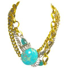 Vintage 1980s Signed Iradj Moini Multi-Strand Turquoise and Crystal Link Necklac