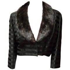 Black Bolero Jacket w/ Mink Collar