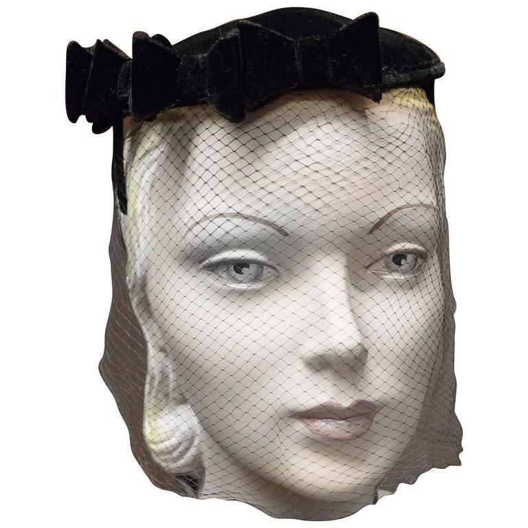 50s Black Velvet Bow Cocktail Hat