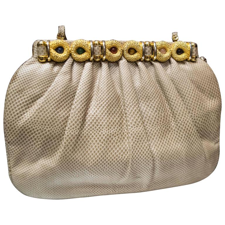 1980s Judith Lieber Snakeskin Handbag For Sale