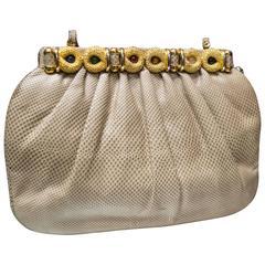 1980s Judith Lieber Snakeskin Handbag