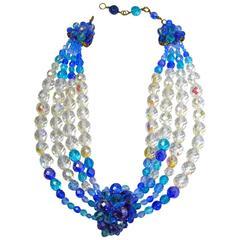 Vintage 1950s Coppola e Toppo Italy 3-Tone Blue & Clear Glass Bead Multi-Strand