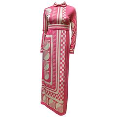 1970s Pink Paganne Maxi Dress