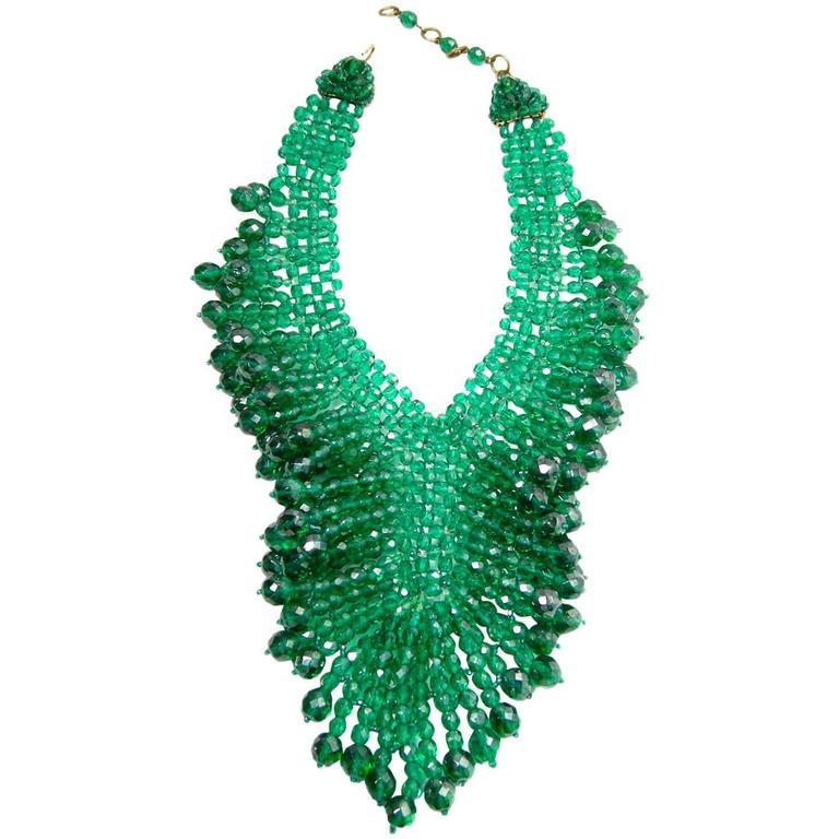 Vintage 1950's Coppola e Toppo Italy 2-Tone Green Glass Bead Bib Necklace 1