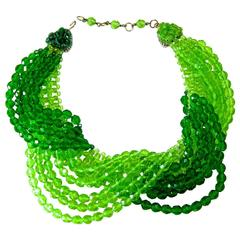Vintage 1950s Coppola e Toppo Italy Multi-Strand Green Glass Twist Necklace