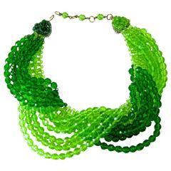 Vintage 1950s Coppola e Toppo Italy Multi-Strand Green Glass Twist Necklace