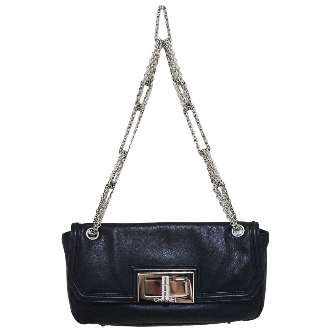 f2c170a6843b66 Chanel black 'Sac Baguette' bag with oversized lock, c. 2008-9 For Sale at  1stdibs