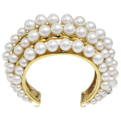 Chanel gold cuff adorned in pearls, c. 1980s