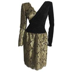 MARY MCFADDEN Gold Lace and Black Silk Cocktail Dress