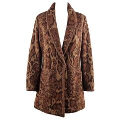 VALENTINO COUTURE Italian VINTAGE Brown Knit LONG CARDIGAN COAT Sweater