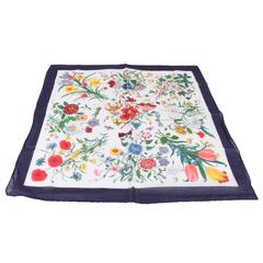 GUCCI Italian VINTAGE Cotton FLORA Accornero NECK SCARF Navy Blue Border RARE