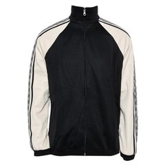 Gucci Black & Cream Jersey Shoulder Strip Detail Oversized Technical Jacket XS