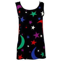 YSL Yves Saint Laurent Moon & Stars Sleeveless  Top 1979 Vintage