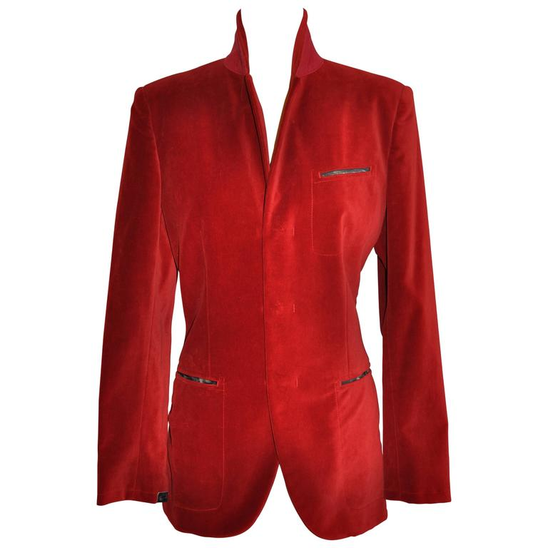 Jean Paul Gaultier Crimson Red Brushed Velvet Jacket For Sale
