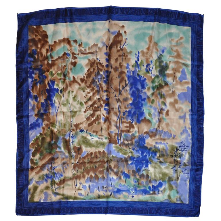 "Vera Multi-Hues with Navy & Blue Border ""Country Scenes"" Silk Scarf 1"