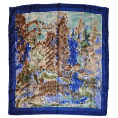 """Vera Multi-Hues with Navy & Blue Border """"Country Scenes"""" Silk Scarf"""