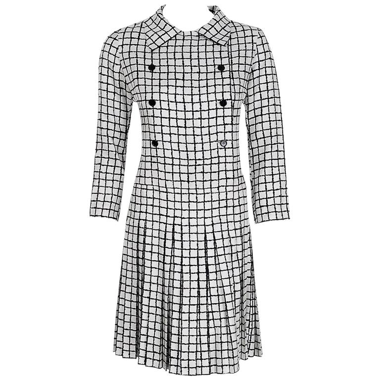 1967 Yves Saint Laurent Haute-Couture Black White Check Print Silk Pleated Dress 1