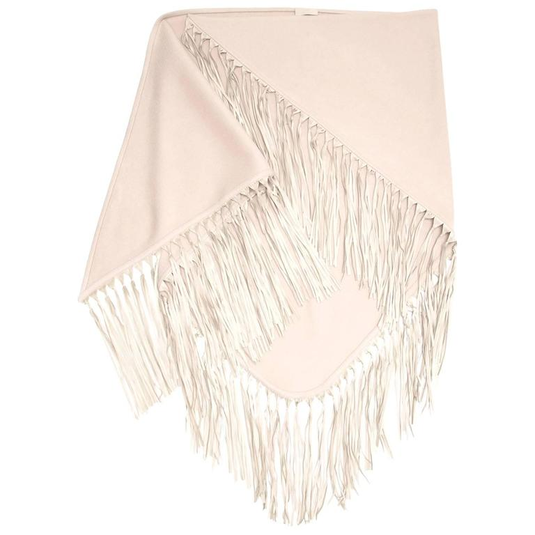 Hermès Taupe Triangular Fringed Shawl