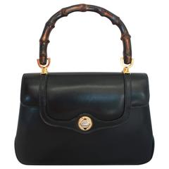 Gucci Vintage Navy Leather Bag with Bamboo Handle - circa 1950's