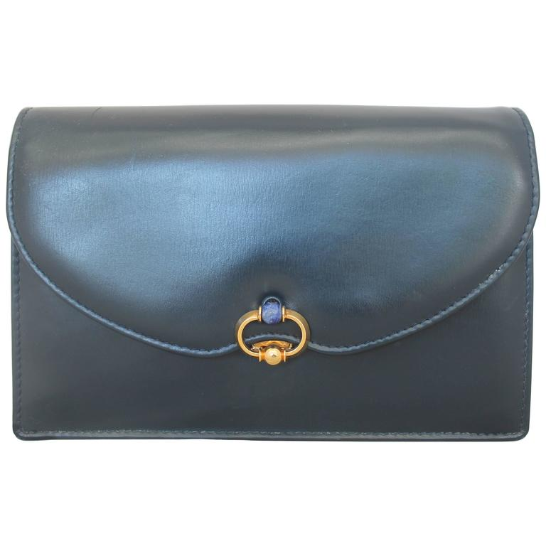 Gucci Vintage Navy Leather Clutch - GHW - Circa 1950's