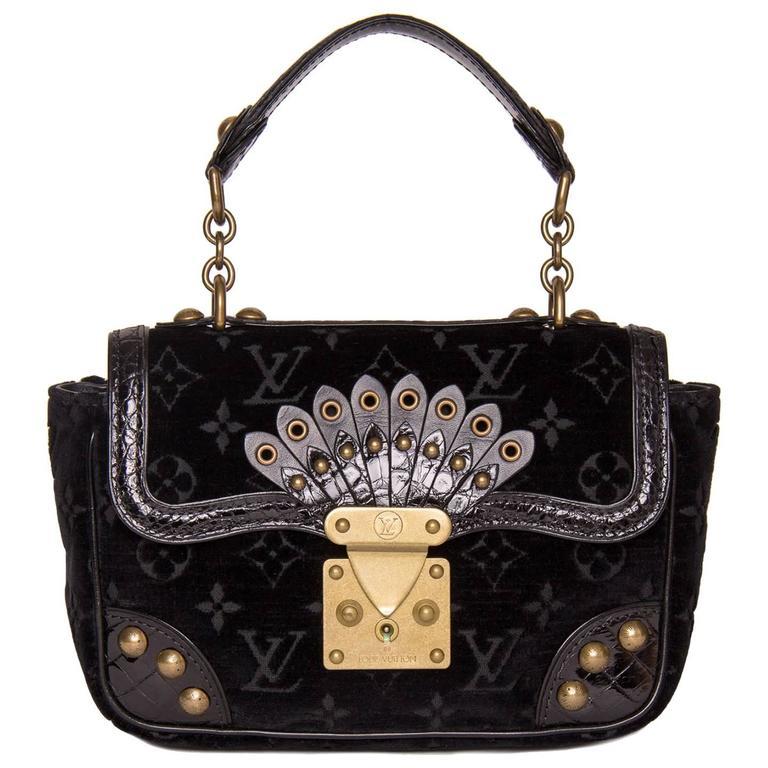 Louis Vuitton Black Velvet & Crocodile Small Bag 1