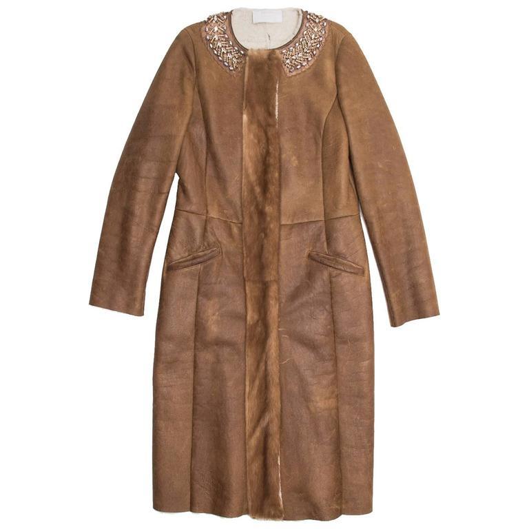 Prada Brown Shearling & Leather Coat For Sale