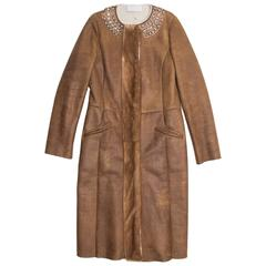 Prada Brown Shearling & Leather Coat
