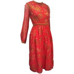 Early 1970s Oscar de La Renta Red Silk Peasant-Inspired Dress w/ Gold Trim