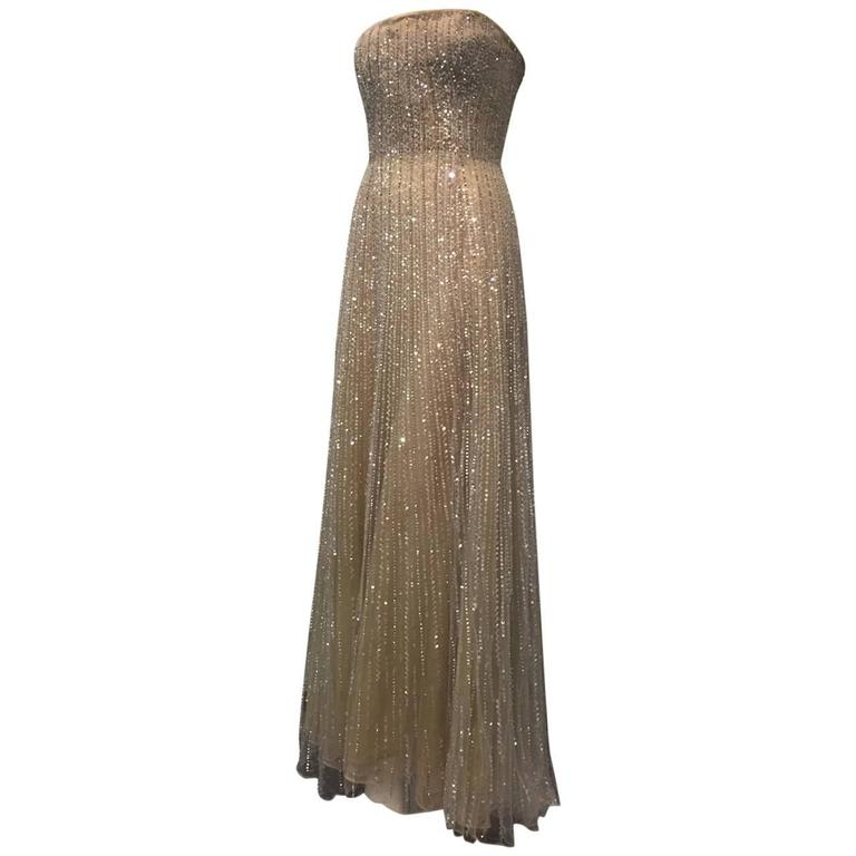 Oscar de La Renta Etherial Beaded and Sequined Tulle Gown  For Sale