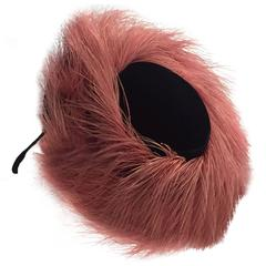 1940s New York Creations Pink Egret Feather and Black Velvet Tilt Hat