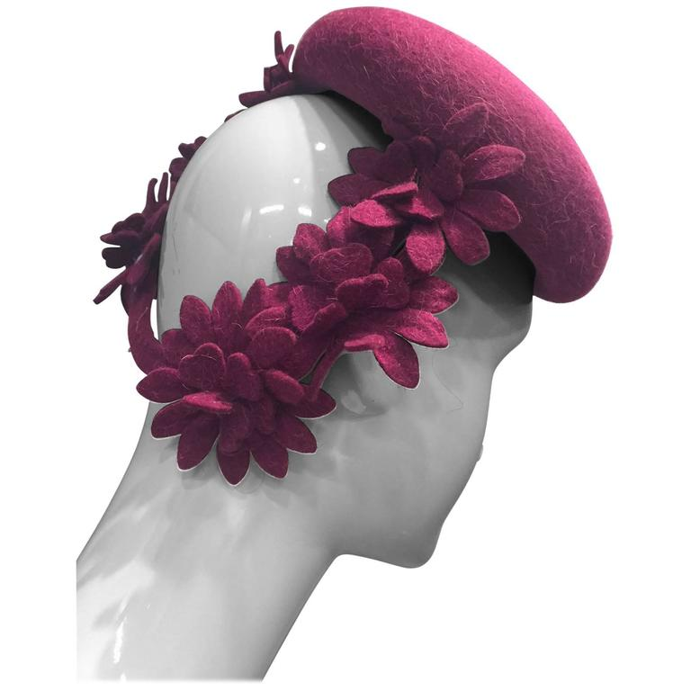 1940s Valerie Modes Magenta Felt Tilt Hat with Felt Flower Embellished Band