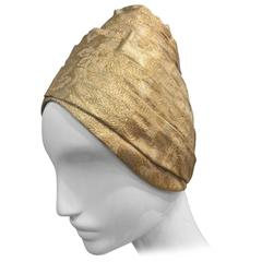 1960s Beehive Lame Turban Hat by Patrice