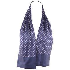 HERMES PARIS Vintage Blue Silk ASCOT SCARF Cravat Tie OWL Design w/ BOX
