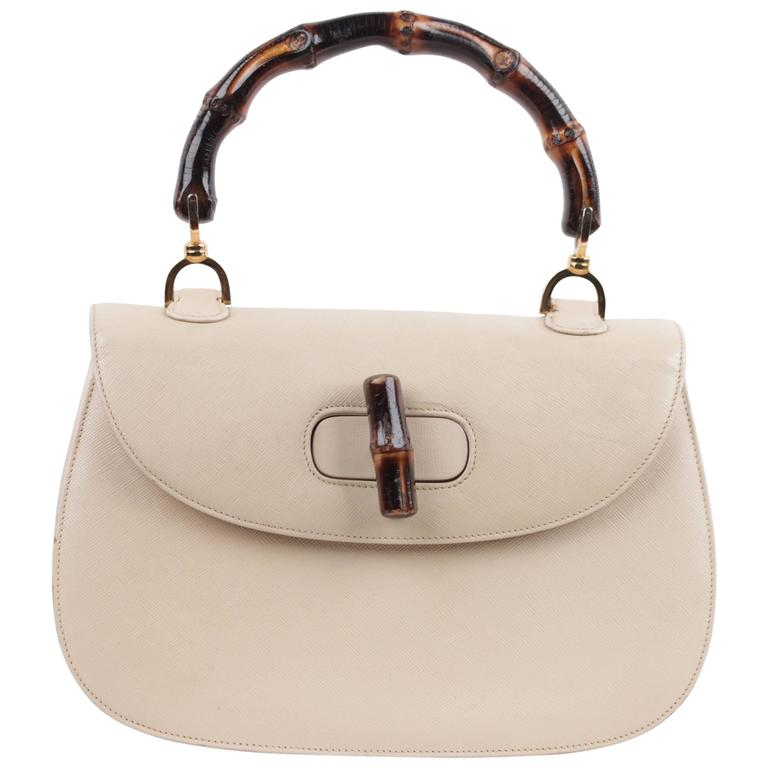 GUCCI Italian VINTAGE Beige Leather BAMBOO BAG Handbag PURSE Top Handle  RARE For Sale 6097256da05d4