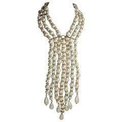 Vintage Cascading Waterfall Pearl Drop Necklace