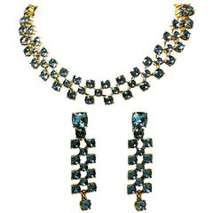 Vintage Oscar De La Renta Dark Blue Rhinestone Necklace & Drop Earrings