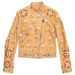 Christian Dior Tan Suede Jacket With Embroidery
