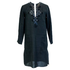Djellaba blouse by Jean-Paul Gaultier in embroidered black linen Circa 2000