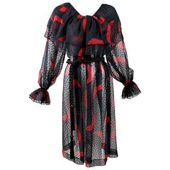 1970s Yves Saint Laurent Red & Black Moon Print Ruffle Peasant Dress