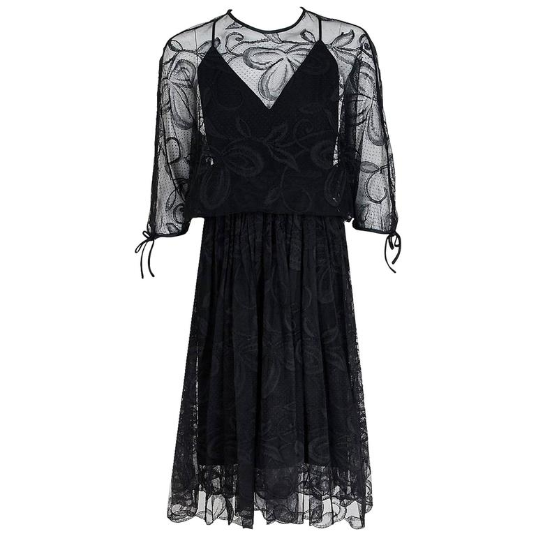 1970's Donald Brooks Black Lace Illusion Plunge Batwing-Sleeve Goddess Dress