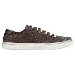 Saint Laurent Distressed Low Top Multicolor Glitter Bedford Sneakers Size 36.5