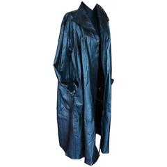 Jean Muir Black Lambskin Leather Trench Coat with Punchouts 1970s Size 12
