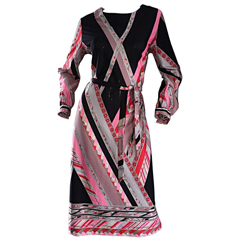 Vintage Lanvin 1970s 70s Pink + Red + Gray Belted Geometric Flower Dress