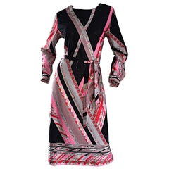 Vintage Lanvin 1970s 70s Large Pink + Red + Gray Belted Geometric Flower Dress